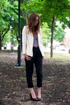 white H&M blazer - black H&M wedges