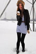 white H&M dress - black twik jacket - camel vintage gloves - brown vintage belt