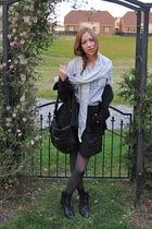 black BCBG purse - gray Simons tights - black Simons skirt - silver thrifted blo