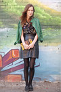 Green-leather-zara-coat-black-floral-citizen-vintage-shirt