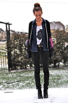 white H&M top - navy Club Monaco blouse - black stock cardigan - black H&M pants