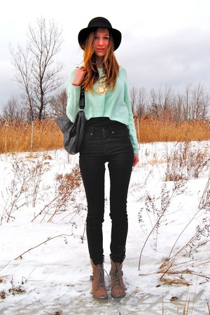 aquamarine cropped H&M sweater - black leather BCBG bag - black high waisted H&M