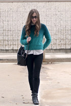 black Steve Madden boots - turquoise blue angora H&M sweater - black Suki bag