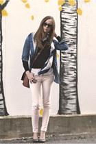 light pink H&M pants - navy silk vintage scarf - tawny H&M bag
