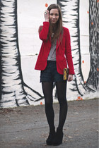red Forever21 blazer - black lace Zara shorts - black Club Couture wedges