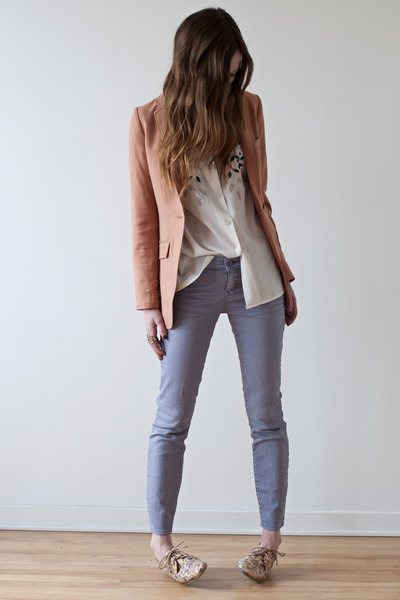salmon H&M blazer - light purple Gap jeans - white vintage blouse