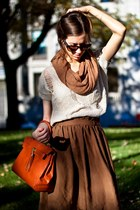 tawny lady Aldo bag - bronze H&M scarf - light brown bcbg max azria sunglasses