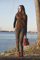 carrot orange Aldo bag - tawny icone sweater - tawny H&M scarf