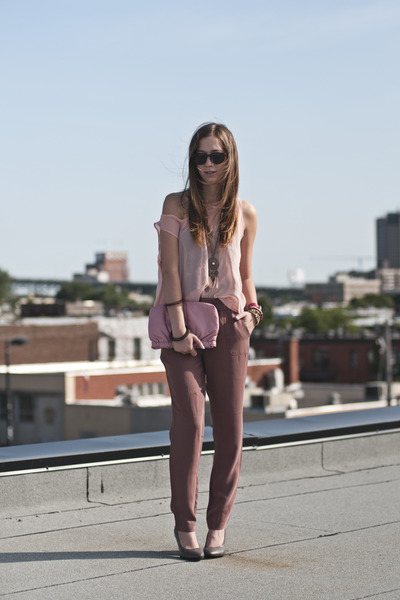 light brown Gap pants - pink sheer American Apparel top - heather gray H&amp;M heels