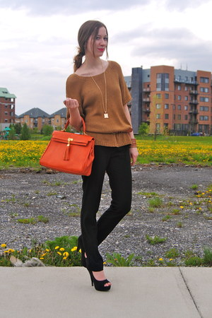 tan H&M sweater - carrot orange Aldo bag - black Payless heels - black Jacob pan