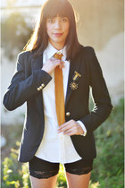 black Zara blazer - cotton Ralph Lauren shirt - lace H&M shorts