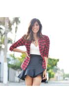 black Zara skirt - white H&M bodysuit - gold Forever 21 necklace