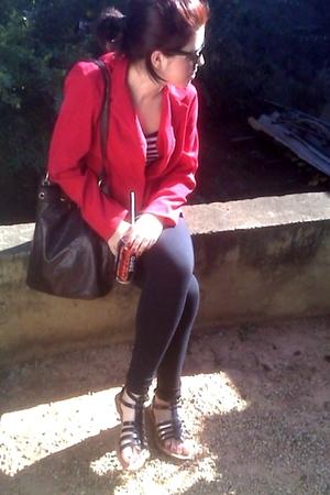 blazer - leggings - shoes - purse