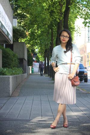 merino wool Club Monaco sweater - pleated thrifted vintage skirt