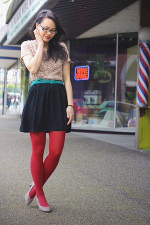 nude nude lace Salvation Army shirt - red red American Apparel tights - teal tea