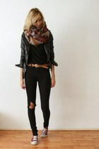multi-color scarf - jeans - leather jacket - basic black t-shirt - neutral belt