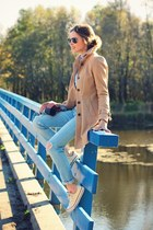 peacoat coat - jeans - denim shirt shirt - multi-colored scarf