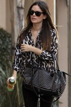 black pants - bag - animal print blouse