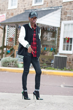 plaid Mr Price shirt - coated Helmut Lang jeans - varsity Forever 21 jacket