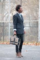 black faux leather Forever 21 pants - leopard print Steve Madden pumps