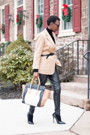 cashmere LAST CALL sweater - Celine bag - leather asos pants