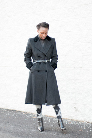 wool liz claiborne coat - Luxury Rebel boots - Current Elliot jeans
