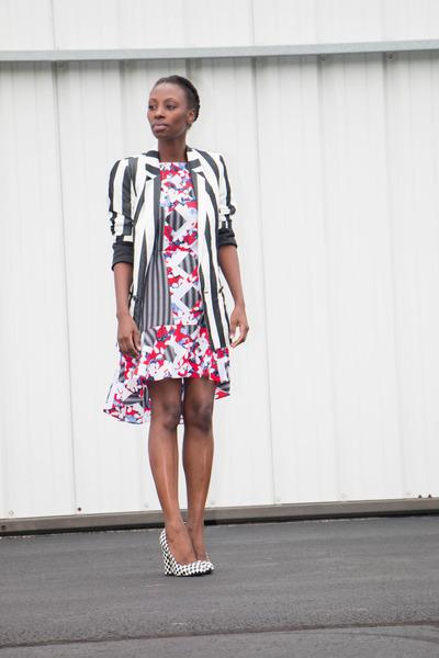 stripe Zara blazer - peter pilotto target dress - checkered Qupid pumps