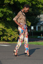 leopard print Forever 21 blouse - silk abstract catherine malandrino pants