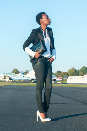 coated Helmut Lang jeans - Ralph Lauren blazer - Zara bag - Express blouse