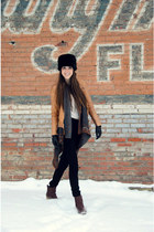 black faux-fur banana republic hat - crimson rubber-soled Anthropologie boots