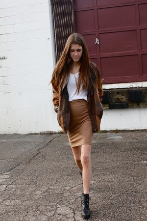 bronze pencil Zara skirt - black lace-up vintage boots