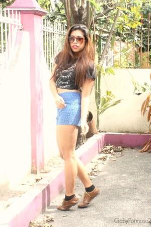 dark brown oxfords vintage shoes - blue high waisted Forever 21 shorts