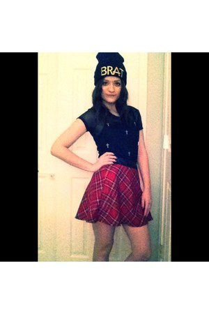 black brat PacSun hat - black Marshalls blouse - red plaid deb skirt