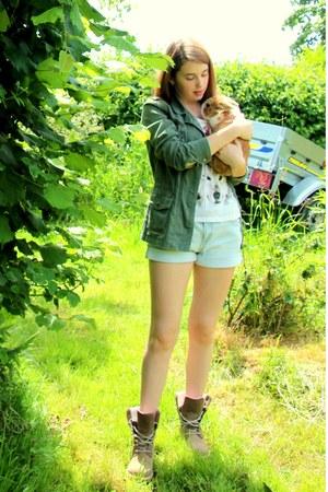 light brown Timberland boots - dark green La Redoute coat