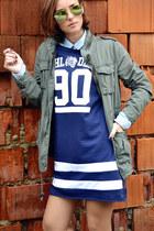 navy Alcott dress - olive green H&M jacket - light blue Stradivarius shirt
