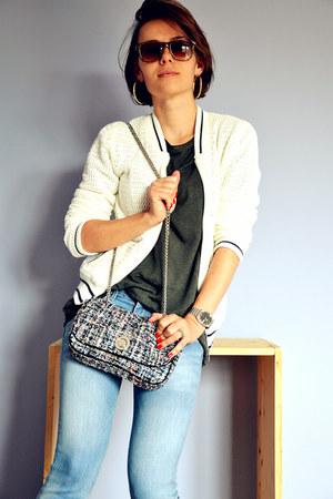 ivory crochet Promod jacket - light blue Gap jeans - dark green H&M t-shirt