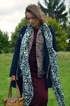 crimson Zara dress - navy Promod coat - Zara scarf - bronze longchamp bag