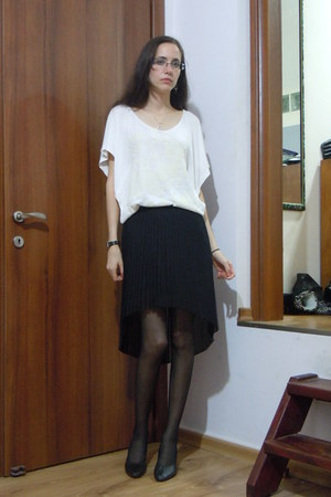 black skirt - ivory blouse