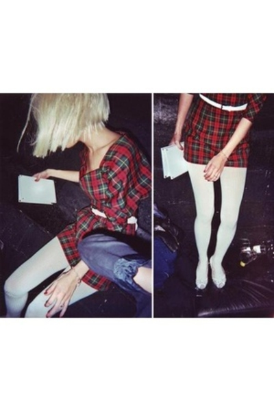 made by me dress - Tabio panties - Absolute Vintage shoes - Blondie purse