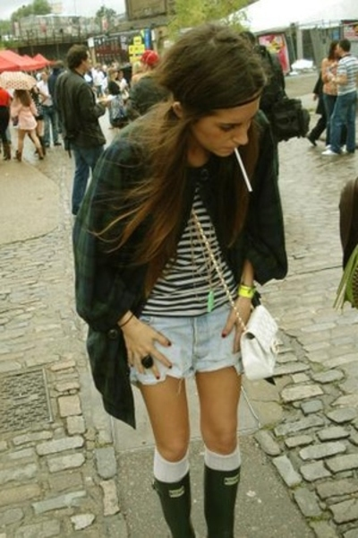 Topshop coat - AmsterdamHolland vest - Levis 501 shorts - Hunter shoes