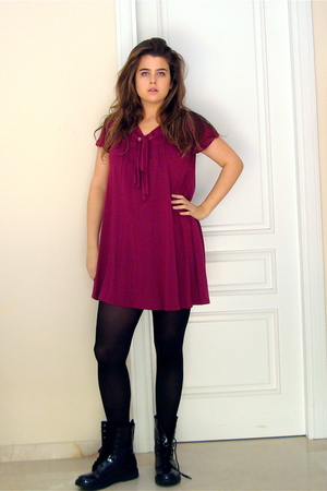 doc martens boots - preppy Mango dress - opaque tights