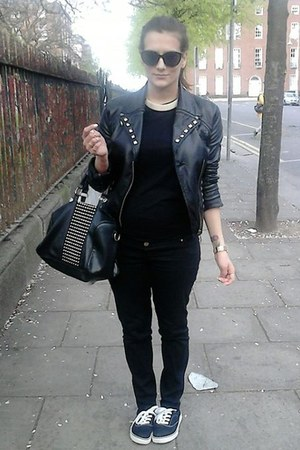 black Vans shoes - black leather Zara jacket - black studded Mango bag