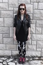 leather orsay  diy jacket - Converse shoes - Tally Weijl dress