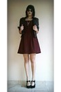Black-leather-bershka-jacket-crimson-checkered-new-yorker-dress