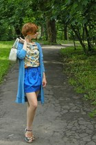 blue tulip bay skirt - eggshell next bag - navy bow marks & spenser sandals