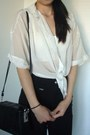 Black-zippers-pants-white-chiffon-dots-shirt-cream-cropped-bralet-dotti-top