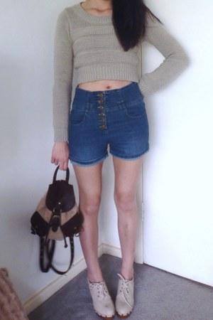 cropped Bershka sweater - fluffy backpack Topshop bag - shorts
