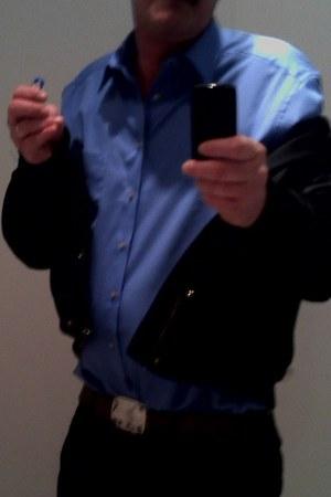 black Zara jeans - blue comfortabel Olymp shirt - black New Yorker hoodie
