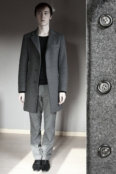 charcoal gray united colors of benetton coat - black H&M boots