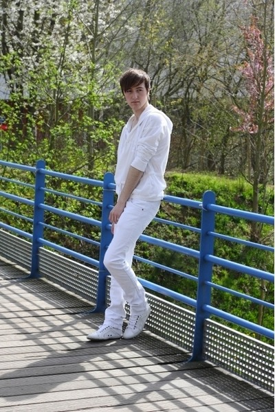 white Topman hoodie - white Zara pants - white Zara sneakers